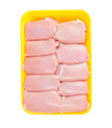 Raw chicken thigh meat without skin in tray. Studio Photo Stock Photo