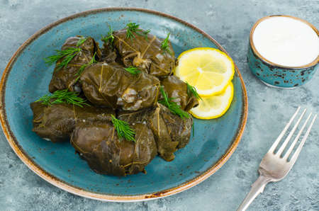 Dolma with meat, rice in grape leaves. Studio Photo