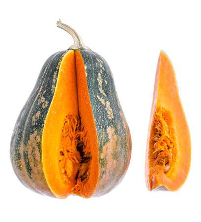 Ripe orange butternut pumpkin on wooden table, ingredients for vegetarian meal