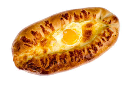 Ajarian khachapuri with cheese and egg 스톡 콘텐츠