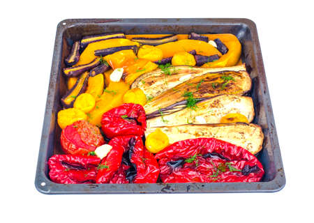 Seasonal vegetables baked on baking sheet