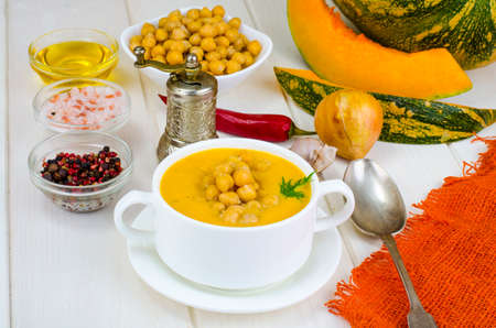 Vegetarian dishes. Pumpkin cream soup with chickpeas