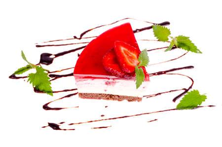 Strawberry tart, mousse cake, cheesecake with fresh strawberries on white background