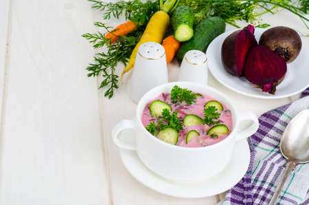 Cold beet soup with cucumbers. Studio Photo 写真素材