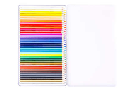 Packing with bright colored pencils for drawing. Studio Photo