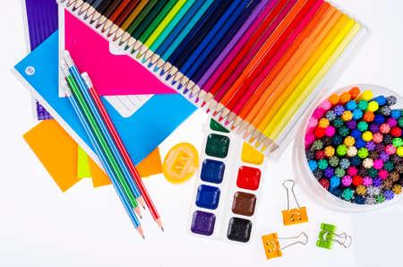 School items and student accessories. Studio Photo.