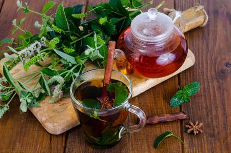 Herbal tea with mint and honey. Studio Photo Stockfoto