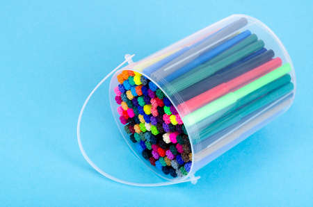 Many colored markers in package. Studio Photo Stockfoto
