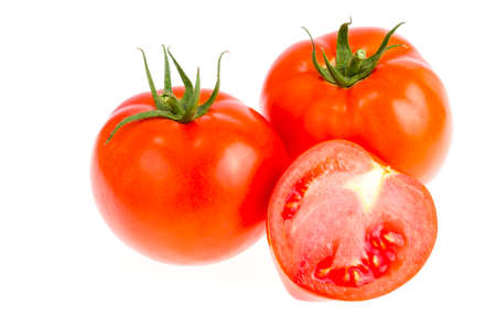 Ripe juicy red tomatoes isolated on white background. Studio Photo