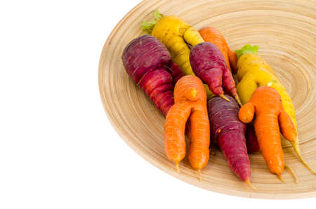 Ugly, deformed fresh organic carrots different color. Studio Photo