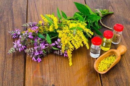 Tintura farmacéutica, extracto de hierbas silvestres, flores medicinales en frascos médicos. Foto de estudio