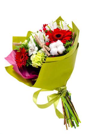 Gorgeous original bouquet of flowers on white background. Studio Photo