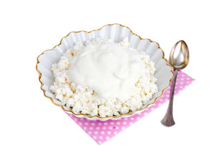 Homemade cottage cheese, dairy products. Studio Photo