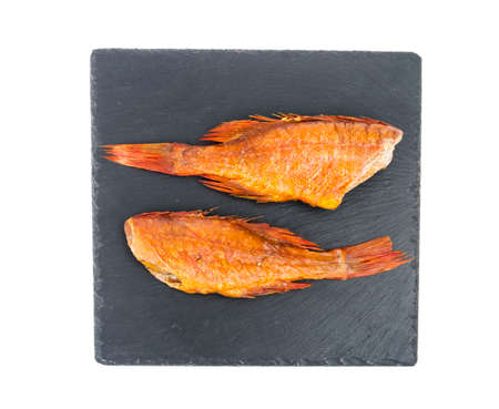 Hot smoked red sea bass. Stuio Photo. Archivio Fotografico