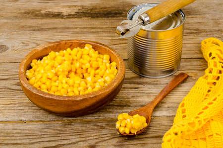 Canned ripe yellow sweet corn in jar. Studio Photo