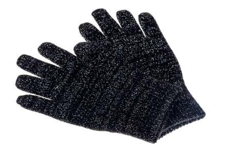 Black knitted baby gloves isolated on white background. Studio Photo Stock Photo