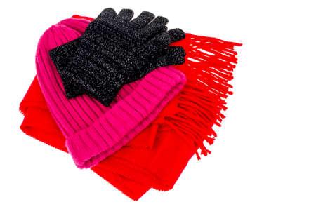 Warm clothing accessories in cold season. Studio Photo