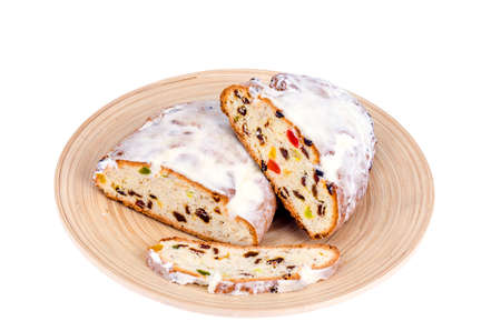 Traditional Christmas stollen with nuts and candied fruits. Studio Photo Stock Photo