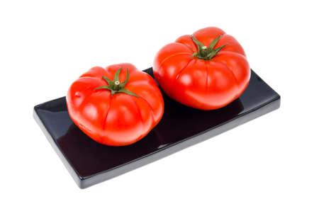 Red ripe juicy beeftomats isolated on white background. Studio Photo Stok Fotoğraf