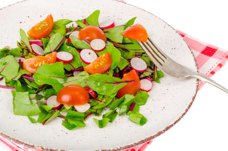 Healthy nutrition. light salad of beetroot leaves, radish and cherry tomatoes. Studio Photo