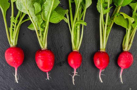 Fresh ecologically grown radish on black background. Studio Photo