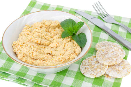 Homemade chicken pate, healthy eating isolated on white. Studio Photo