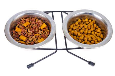 Granular pet food isolated on white background. Studio Photo