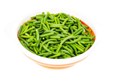 Vegetarian food. Bowl with green string beans. Studio Photo Reklamní fotografie