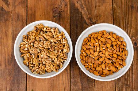 Healthy lifestyle, vegetarian food. Nuts. Studio Photo