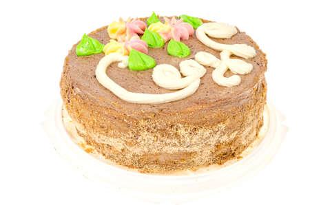 Delicious homemade cream cake. Studio Photo 스톡 콘텐츠