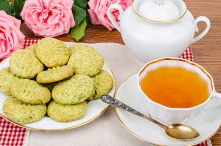 Tasty Homemade cakes, mint cookies. Studio Photo Reklamní fotografie