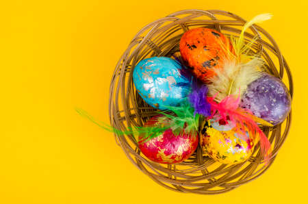 Colored eggs - symbol of celebration of Easter. Studio Photo Stok Fotoğraf