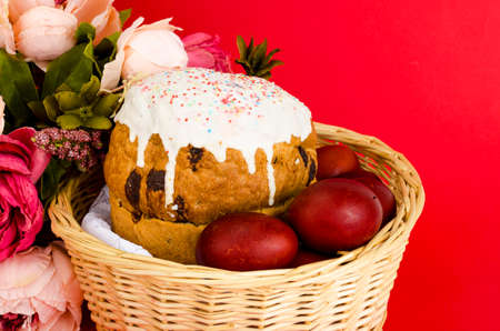 Delicious Easter cake, colored eggs for Easter celebration. Studio Photo