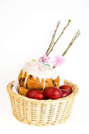 Delicious Easter cake, colored eggs for Easter celebration. Studio Photo Stok Fotoğraf