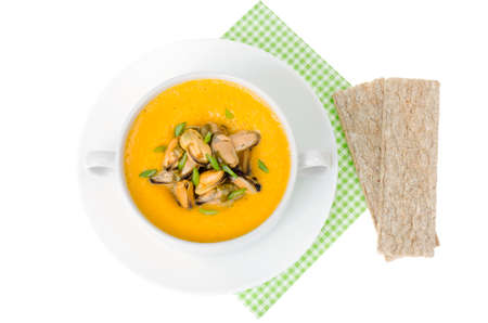 Cream soup with canned mussels. Studio Photo Stock Photo