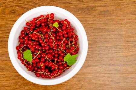 Ripe red currants in white bowl. Studio Photo