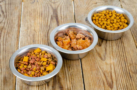 Metal bowls with different pet foods. Studio Photo