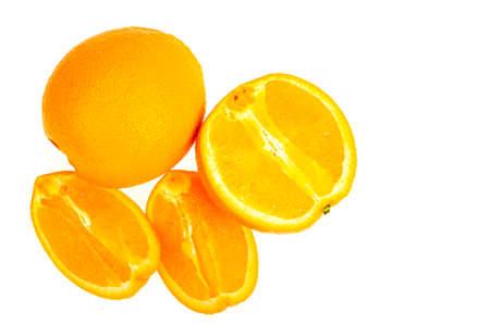 Several whole and sliced sweet orange oranges isolated on white background. Studio Photo Stock Photo