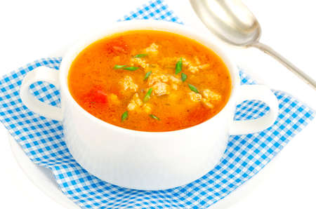 Thick homemade vegetable soup with rice, pumpkin and tomatoes. Studio Photo Stockfoto