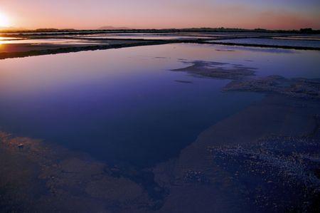 salinity: Salt-works in Marsala Stock Photo