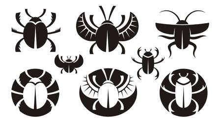 scarabeo: B&W varie icone dei bug. Illustrazione vettoriale.