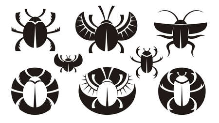 crook: B&W various icons of bugs. Vector illustration.