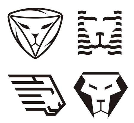 Lion head icons. Vector illustration.