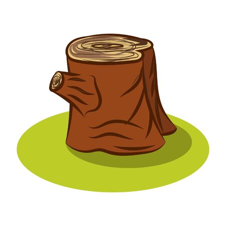 Vector tree stump with knot for cartoon decoration