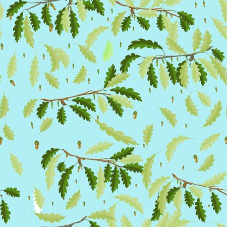 Oak branches with leaf and acorn seamless pattern with light blue sky background  イラスト・ベクター素材