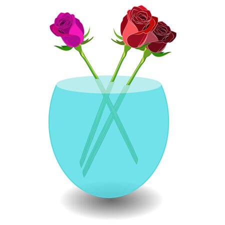 Bouquet of 3 roses in a vase of water. Vector illustration beatiful scarlet, violet and red roses in nice transparent bowl with water