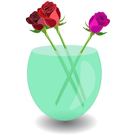 Bouquet of 3 roses in a vase of water. Vector illustration beatiful roses in nice transparent bowl  イラスト・ベクター素材