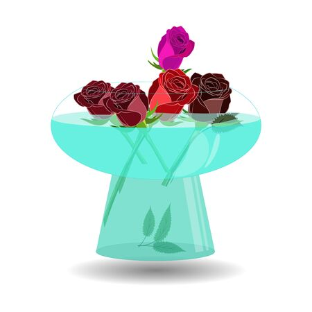 Bouquet of 5 roses in a vase of water. Vector illustration beatiful scarlet, violet and red roses in nice transparent bowl with water Ilustração