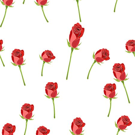 Vector seamless pattern with red rose button on the stem and branches on a white background.