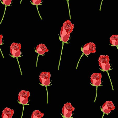 Vector seamless pattern with red rose button on the stem and branches on a black background. Stockfoto - 128042014